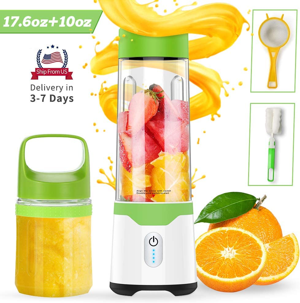 Portable Blender, TROPRO USB Handheld Blender, 17.6oz Multi-person Size +10oz Personal Mini Juicer Cup, Fruit Mixer for Shakes Smoothies Juice, for Home/Office/Beach/Sports/Travel/Gym (FDA, BPA Free)