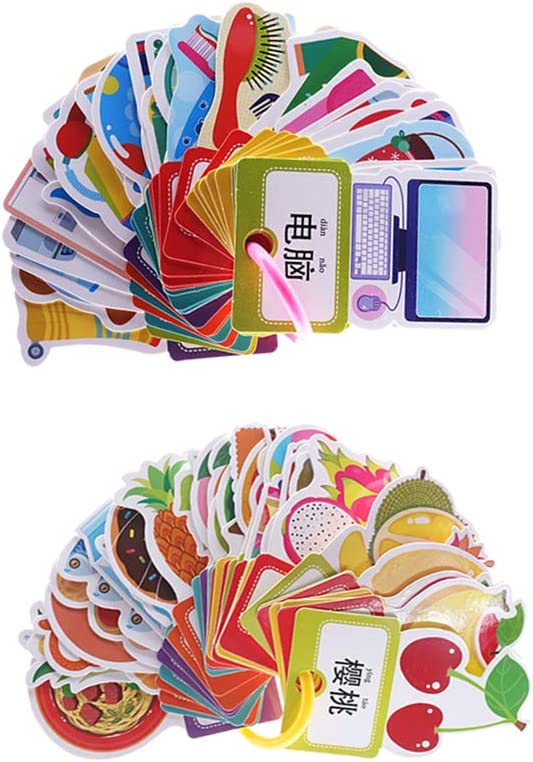 Flameer Sight Word Mandarin Flash Cards with Colors Shapes Pictures, English Chinese Learning Brain-Building Ring Flashcards for Kids Toddlers 2 Pack (60Pcs)