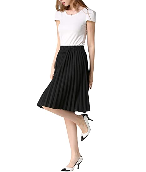 46803c5e4 Elegance Women Midi Skirt Pleated Chiffon Business Ladies Wearing Skirts  US2-14Black: Amazon.ca: Home & Kitchen