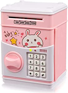 Yoego Kids Money Bank, Electronic Piggy Banks, Great Gift Toy for Kids Children, Paper Auto Scroll Money Saving Music Box Password Coin Bank,Perfect Toy Gifts for Boys Girls (Pink-Rabbit)