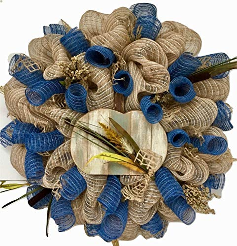 Mesh Woods (Coastal Autumn or Harvest Deco Mesh Wreath With Slotted Wood Pumpkin)