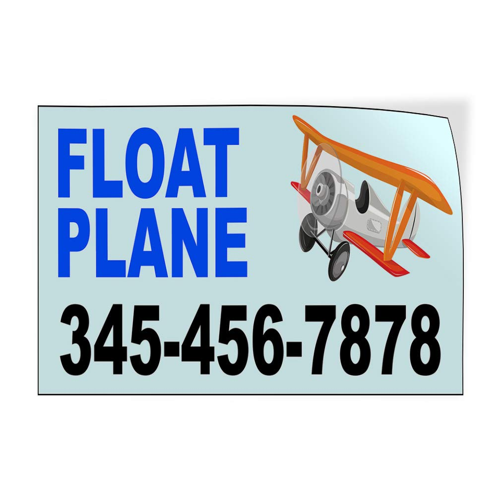 Custom Door Decals Vinyl Stickers Multiple Sizes Float Plane Phone Number Cars /& Transportation Float Plane Outdoor Luggage /& Bumper Stickers for Cars Blue 36X24Inches Set of 5