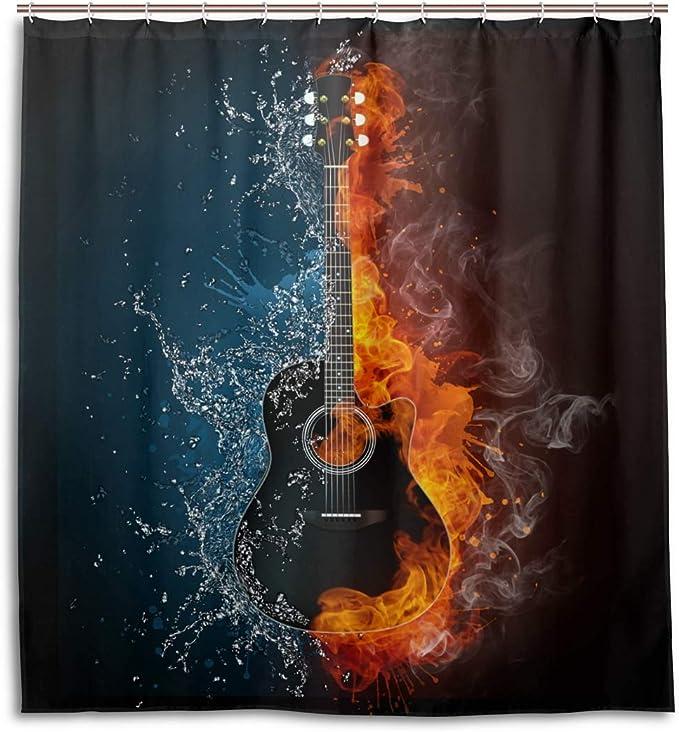 Flame Electric Guitar Skeleton Skull Shower Curtain Set Bathroom Mat Waterproof