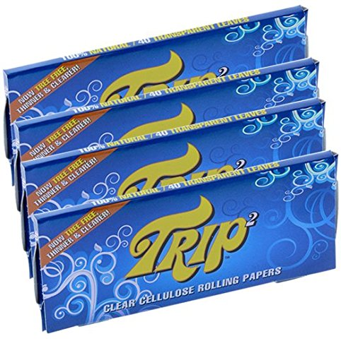 TRIP2 Premium Rolling Papers 4 Pack Bundle Deal — 2 Clear King Size Papers and 2 Clear 1 1/4 1.25 Size Papers