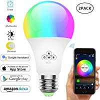 YOMYM WiFi Smart Lamp, Smart Mobile Remote Control Bulb, 16 Million That Change Lighting, No Hub Required, Home Decor, Stage, Bar, Party and More (Warm White Light 6.5W) (2 Pack)