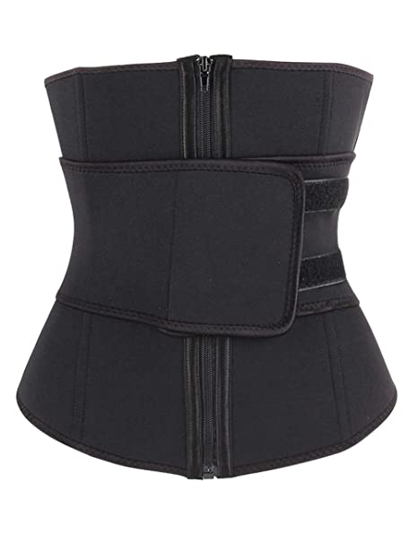440e59a867 FeelinGirl Women s Waist Trainer Cincher Shapewear Neoprene with Zipper  Waist Trimmer Double Belt Hot Sweat Bodysuit