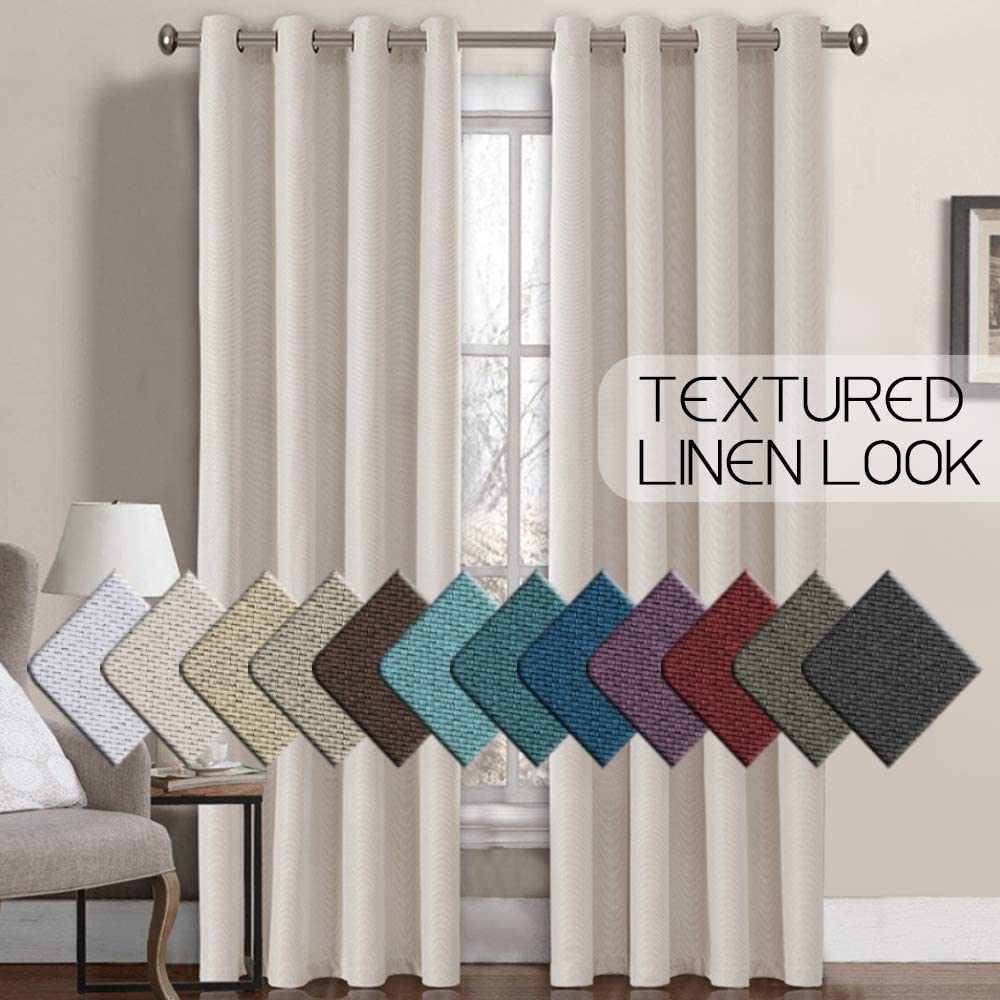 H.VERSAILTEX Linen Curtains 108 Inches Room Darkening Thermal Insulated Extra Long 108 Textured Linen Burlap Curtain, Grommet Primitive Linen Curtain Drapes, 52 by 108 Inch - Ivory (1 Panel)