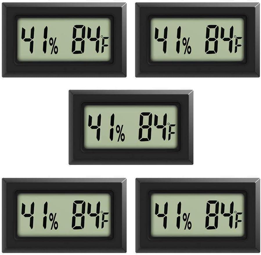 Rojuna 5-pack Mini Thermometer Hygrometer, Large Number Fahrenheit LCD Display Digital Temperature Humidity Meters Gauge Indoor for Humidors, Greenhouse, Garden, Cellar, Fridge