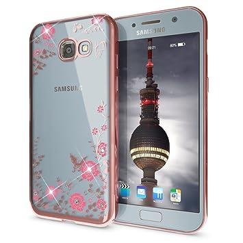 NALIA Strass Funda Compatible con Samsung Galaxy A5 2017, Purpurina Flores Carcasa Protectora Silicona Ultra-Fina Glitter Bumper Movil Estuche, ...