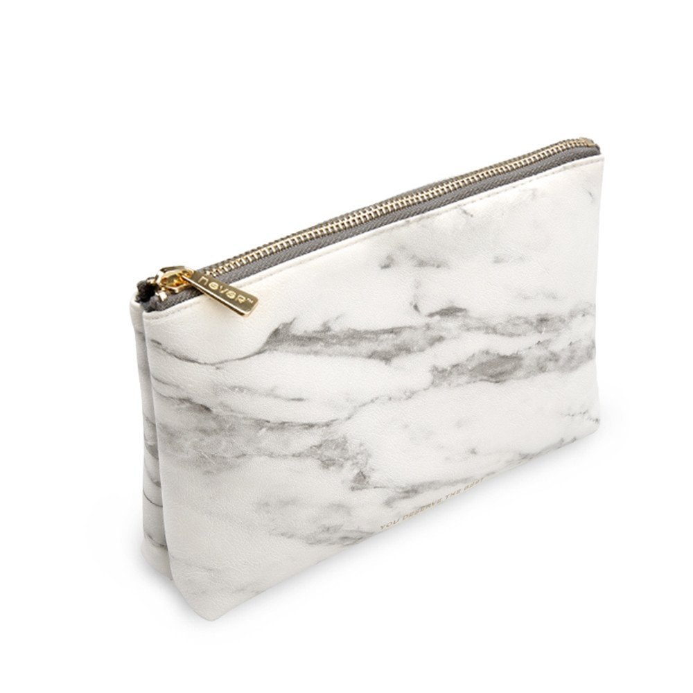 METAN Marble White Cosmetic Bag with Gold Zipper, Fashion Handbags for Makeup Storage, Change Holder, Coin Wallets (8.36'' x 2.38'' x 5.3'')
