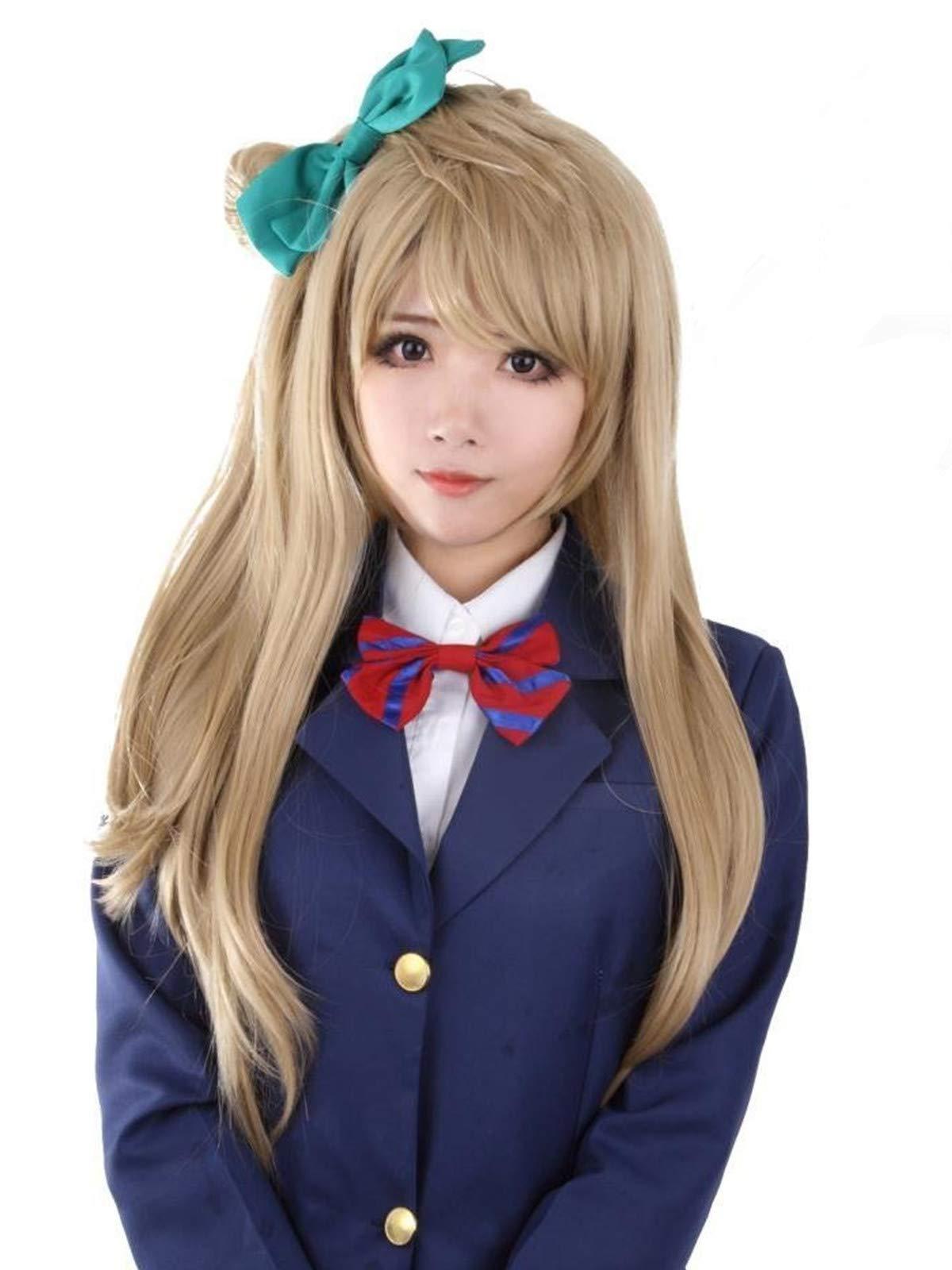 EZ2WORLD HOT! Love Live! Minami Kotori Styled Long Flaxen Cosplay Party Halloween Wig + Wig Cap