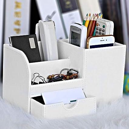 Caja de almacenamiento para mandos a distancia tipo cajón, organizador de escritorio de gran capacidad para el hogar, bolígrafo, contenedor, piel sintética, decoración, compartimento(blanco): Amazon.es: Oficina y papelería