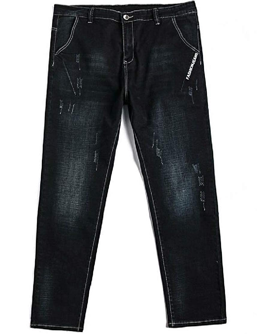 BU2H Men Straight Fit Office Washed Stylish Frayed Over Size Jeans Pants