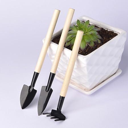 pour petite plante en pot Mini Gadget Toy fleur petite pelle pelle GRT Petite plante dans le jardin Mini Gadget en bois trois pi/èces ensemble r/âteau de fer
