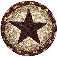 Earth Rugs 31-IC357BS Star Round Printed Coaster, 5, Burgundy