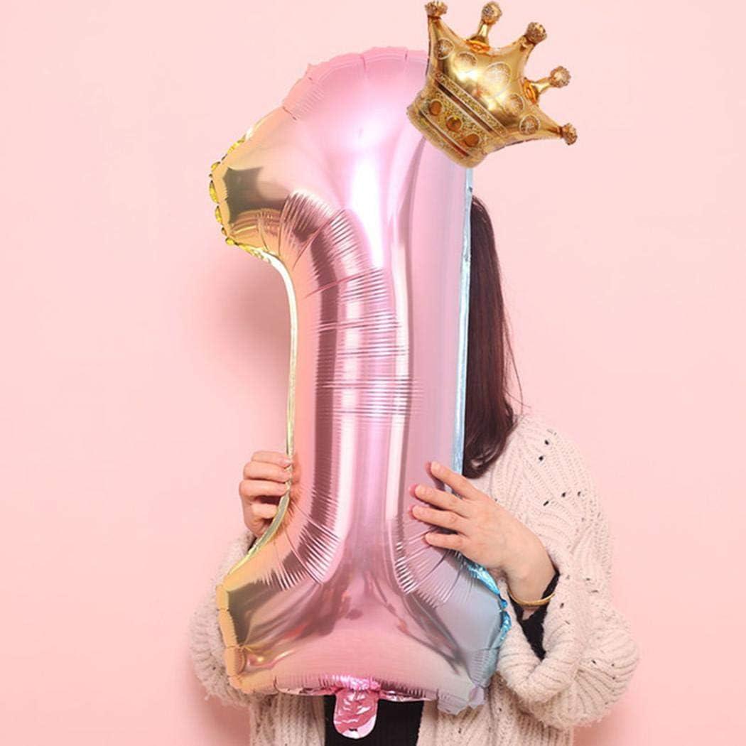 MUDEREK Number Crown Shape Children Aluminum Balloon Decoration for Birthday Party Balloons