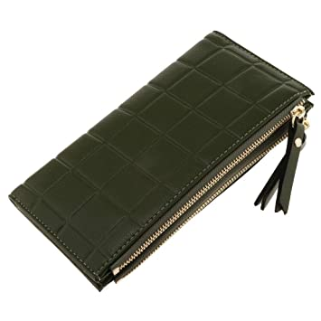 42a6b84c42557a Image Unavailable. Image not available for. Color: Womens Long Wallet  Clutch Double Zipper Purse Handbag Card Holder Organizer (Color - Army Green