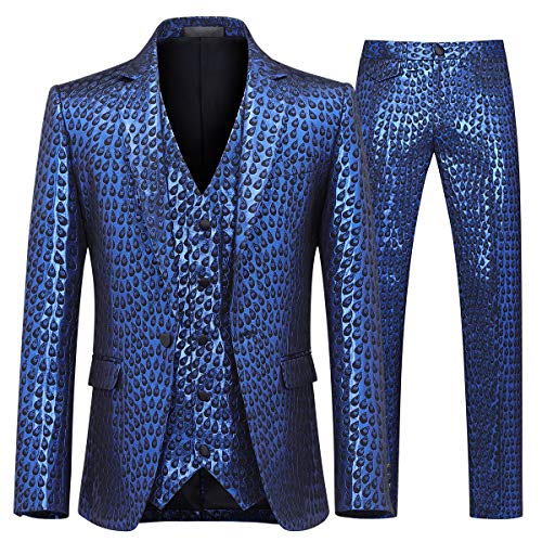 Men's 3 Piece Suit Slim Fit Stylish Printed Floral Dress Suit One Button Notched Lapel Prom Tuxedo Blue