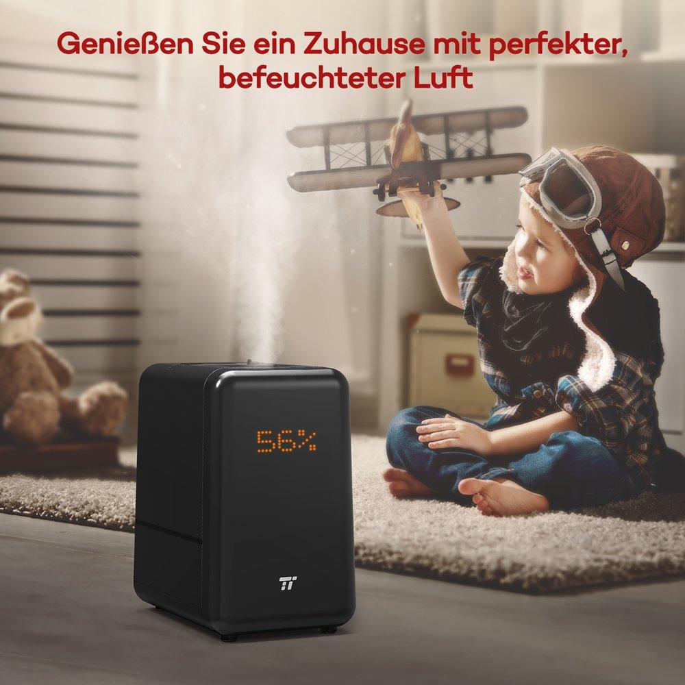 Humidificador ultrasónico TaoTronics - 6L humidificador grande con apertura superior, hasta 60 ㎡ Warm & Vapor Frío, Retro matriz de punto pantalla: ...