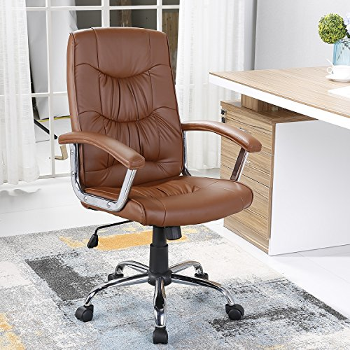 Brown Luxurious Conference Chair (YAMASORO High-Back Office Conference Drafting Chair, Bonded PU Leather Swivel Task Chair (brown-1658))