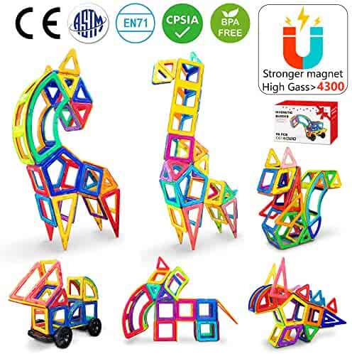 Jasonwell Magnetic Tiles Creative Magnetic Building Blocks Set for Boys Girls STEM Preschool Educational Construction Kit Magnet Stacking Toys for Kids Toddlers Children