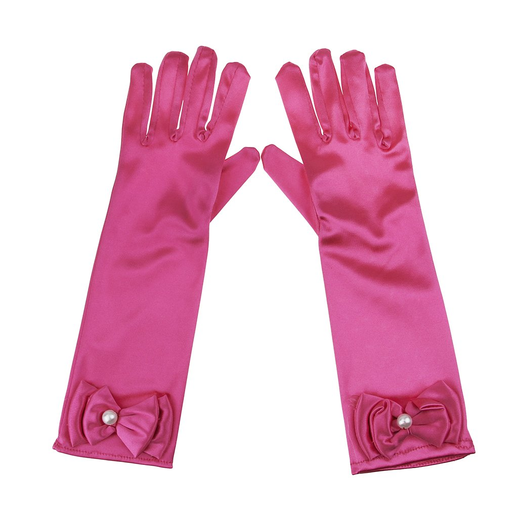 Flower Girls Satin Full-fingered Gloves Cute Bow Wedding Party Formal Gloves Pink Long