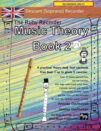 The Ruby Recorder Music Theory Book 2 - UK Terms: A music theory book especially for recorder players with easy to follow explanations, puzzles, and more. All you need to know for Grades 3-5 Recorder.