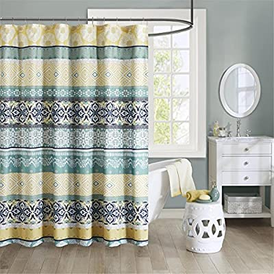 "Intelligent Design Printed Cute Youth Bathroom Shower Mildew Resistant Quick Dry Modern Looking Bath-Curtain, 72x72, Green/Yellow - FEATURES - A mixture of medallions and tribal geometrics in stripes of yellow and green with pops of navy SET INCLUDE AND SIZE - 1 Shower Curtain - 72""W x 72""L MATERIAL DETAIL - 85gsm microfiber, printed, fade resistant and easy to dry - shower-curtains, bathroom-linens, bathroom - 61QUlS5fznL. SS400  -"