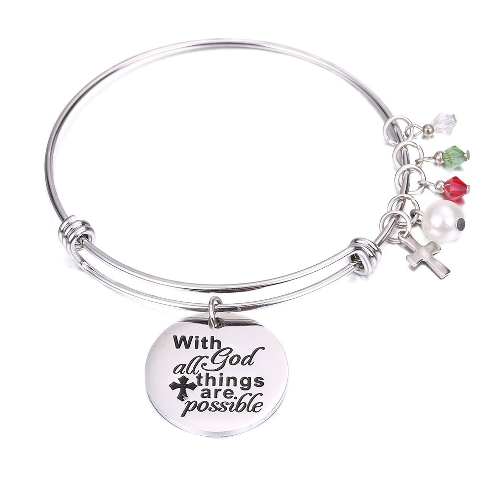 SUMMER LOVE Religious Christian Bangle Women Inspirational Charm Bracelet With God All Thing Are Possible Bracelet Christian Gifts