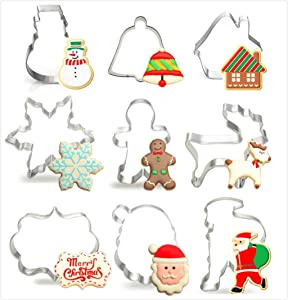 Christmas Cookie Cutters, Stainless Steel Cookie Cutters Santa claus head Snowflake Gingerbread man Fawn Snowman Bell and House Fondant Cake Decoration Mold Shape (9 PCS)