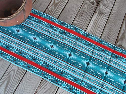 Ranch Aztec Turquoise and Red Quilted Fabric Table Runner or Sideboard Runner 70 inches