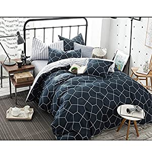 Queen Duvet Cover Set Navy Blue, 3 Piece 1200TC Geometric Diamond Pattern Luxury Hypoallergenic Microfiber Bedding Comforter Quilt Cover with Zipper Closure, Ties - Best Modern Style for Men and Women
