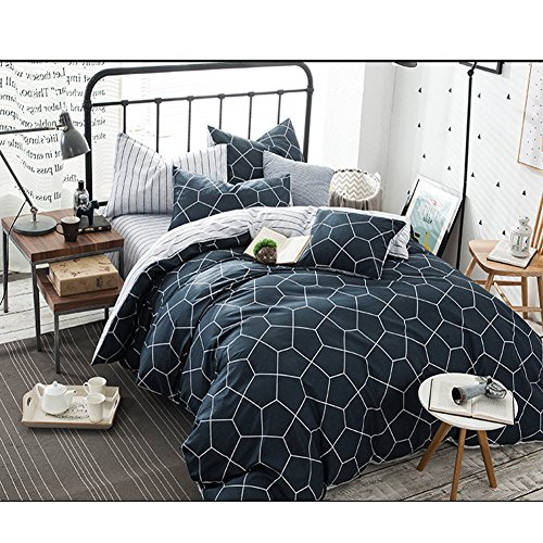 NANKO Queen Duvet Cover Set Navy Blue, 3 Piece 1200TC Geometric Diamond Pattern Luxury Microfiber Bedding Comforter Quilt Cover with Zipper Closure, Ties - Best Modern Style for Men and Women