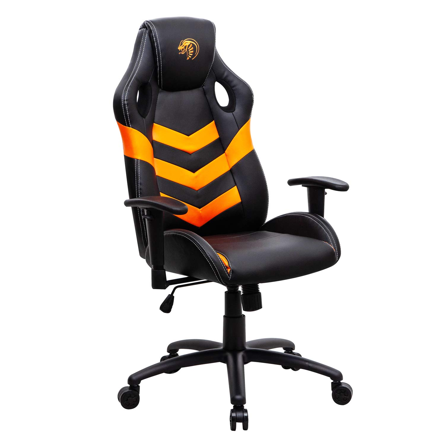 High Back Office Chair PU Leather Desk Gaming Chair | Ergonomic Adjustable Racing Chair, Swivel Executive Computer Chair (Orange) by Modern-Depo