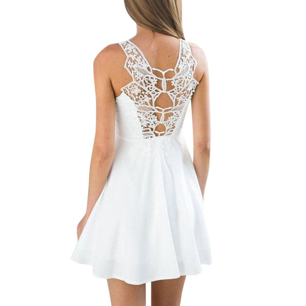 Women Boho Back Lace Mini Dress Sleeveless Evening Party Summer Beach Sundress: Clothing