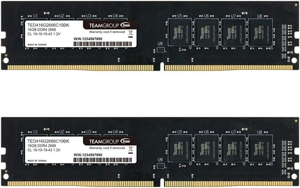 TEAMGROUP Elite DDR4 8GB Kit (2 x 4GB) 2666MHz PC4-21300 CL19 Unbuffered Non-ECC 1.2V UDIMM 288 Pin PC Computer Desktop Memory Module Ram Upgrade - TED48G2666C19DC01-8GB Kit (2 x 4GB)