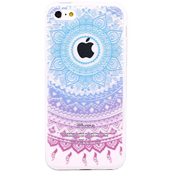 quality design dd9b6 da54d iPhone 5c Case, JAHOLAN Beautiful Clear TPU Soft Case Rubber Silicone Skin  Cover for iPhone 5C - Blue Purple Tribal Mandala