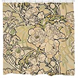 Floral Shower Curtain Floral shower curtain set creme Art nouveau flowers Nature Bathroom decor with 12 Hooks Included