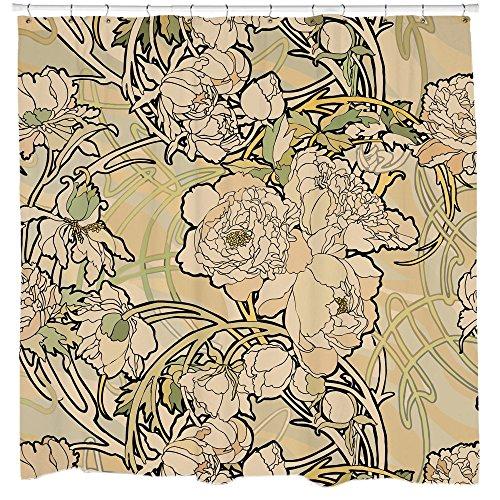 Floral shower curtain set creme Art nouveau flowers Nature Bathroom decor with 12 Hooks ()