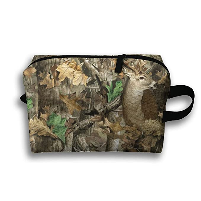 44a8e0c8edd1 Amazon.com  Camo Deer Camouflage Hunting Oxford Travel Toiletries Bag  Sturdy Organizer Cosmetic Handbag For Women Men Portable  Clothing