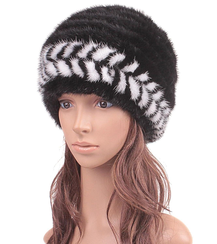 queenshiny Damen 100% Echte Strick Gestrickter Nerz Pelz Muetze Kappe Hut Mode Winter