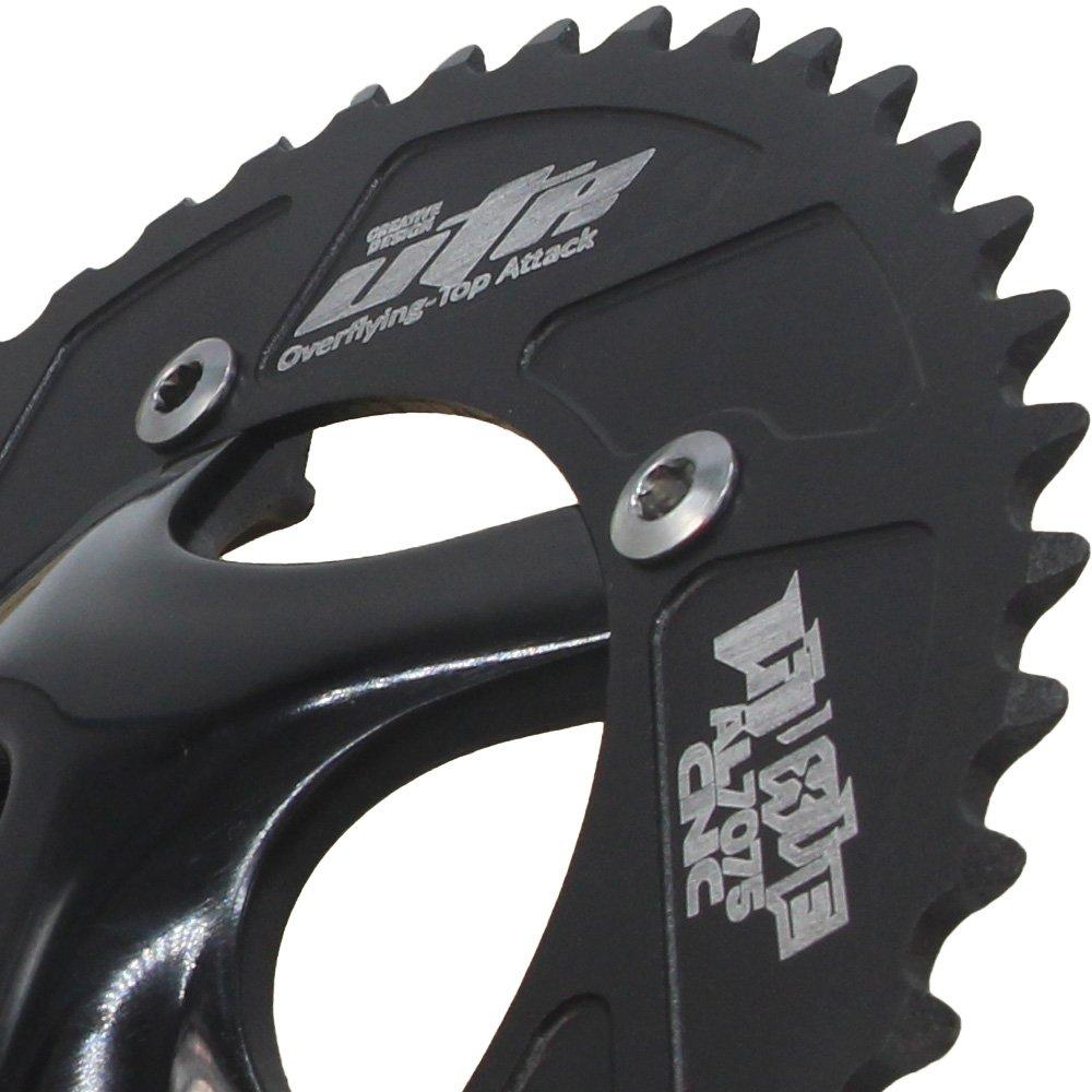 Jnp 48T Single Speed Pignon Fixe piste de vélo Pédalier fixie Manivelle en aluminium Ensemble de plateau de pédalier en 48Gear Bike Pédalier composants plateau taille 48 dents noir
