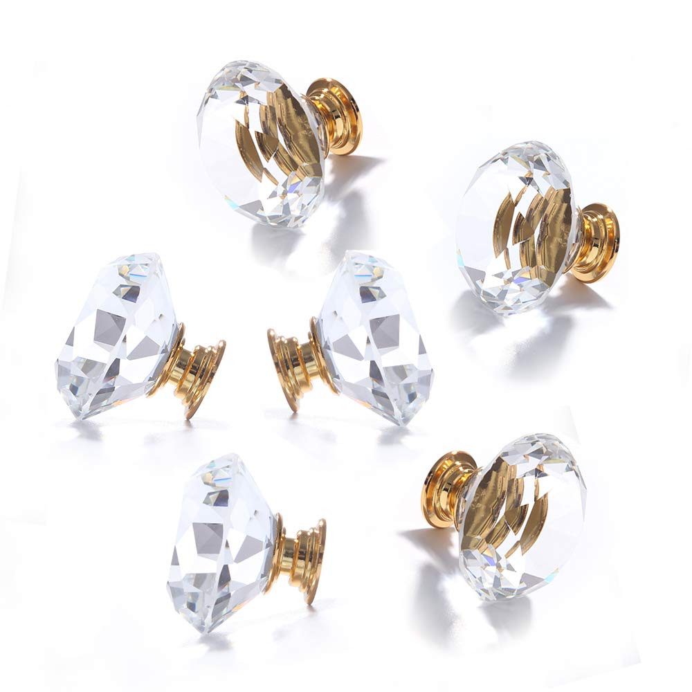 LEICHI 8 Pcs 40mm Diamond Clear Crystal Door Knobs Zinc Alloy Gold Base Glass Cabinet Cupboard Knob Door Hardware for Dresser Handles Closet Pulls, Clear
