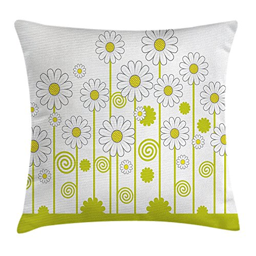 Floral Throw Pillow Cushion Cover, Daisy Flowers in a Sunny Day with Leaves Garden Cartoon Swirl Details Image, Decorative Square Accent Pillow Case, 18 X 18 Inches, Yellow and White
