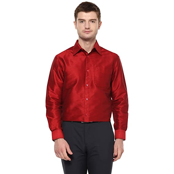 b74aaa6640174 Khoday Williams Men Poly Silk Plain Solid Long Sleeve Regular Fit Casual  Formal Shirt Dark Red  Amazon.in  Clothing   Accessories
