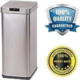 BestOffice 13-Gallon Trash Can, Sensor Stainless Steel Trash Bin