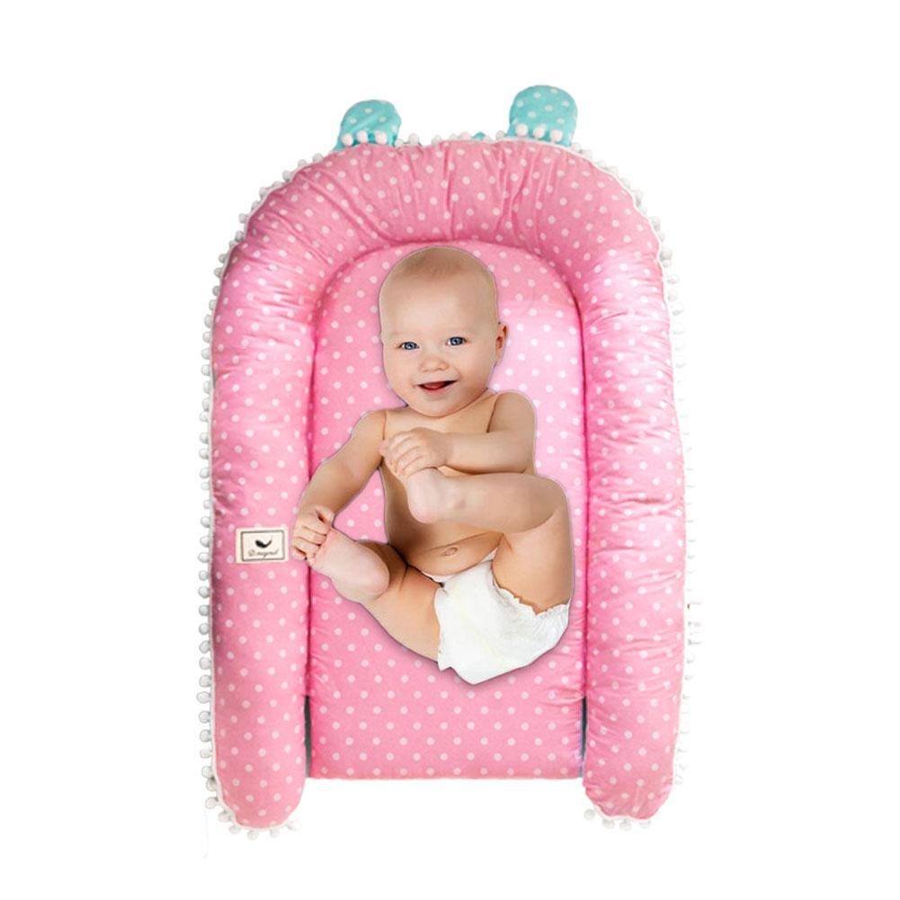 Baby Infant Newborn Lounger for 0-12 Months Portable Bassinet Cushion with Cotton Cover foreverwen