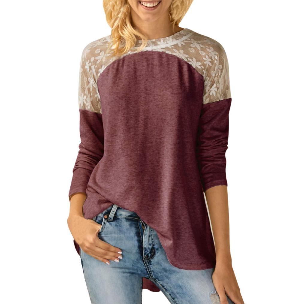 NEWONESUN Womens O Neck Lace Long Sleeve Bowknot Blouse Tops T Shirt (2XL, Red)