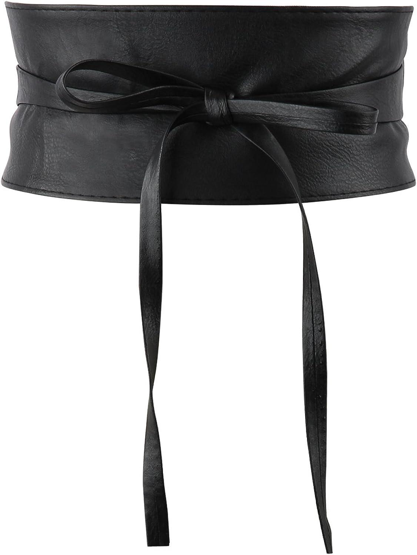 Acecharming Womens Fashion Leather Obi Style Wide Waist Band Belt