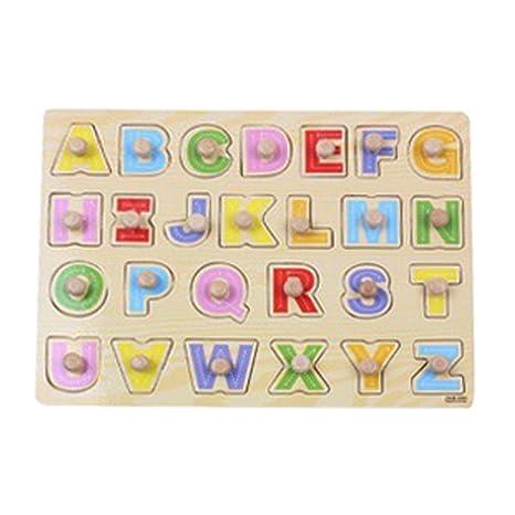 Tangda Puzzle de Encajar 26 Piezas Letras Alfabeto Abecedario en Inglés Juguete Juego Educativo para Niño